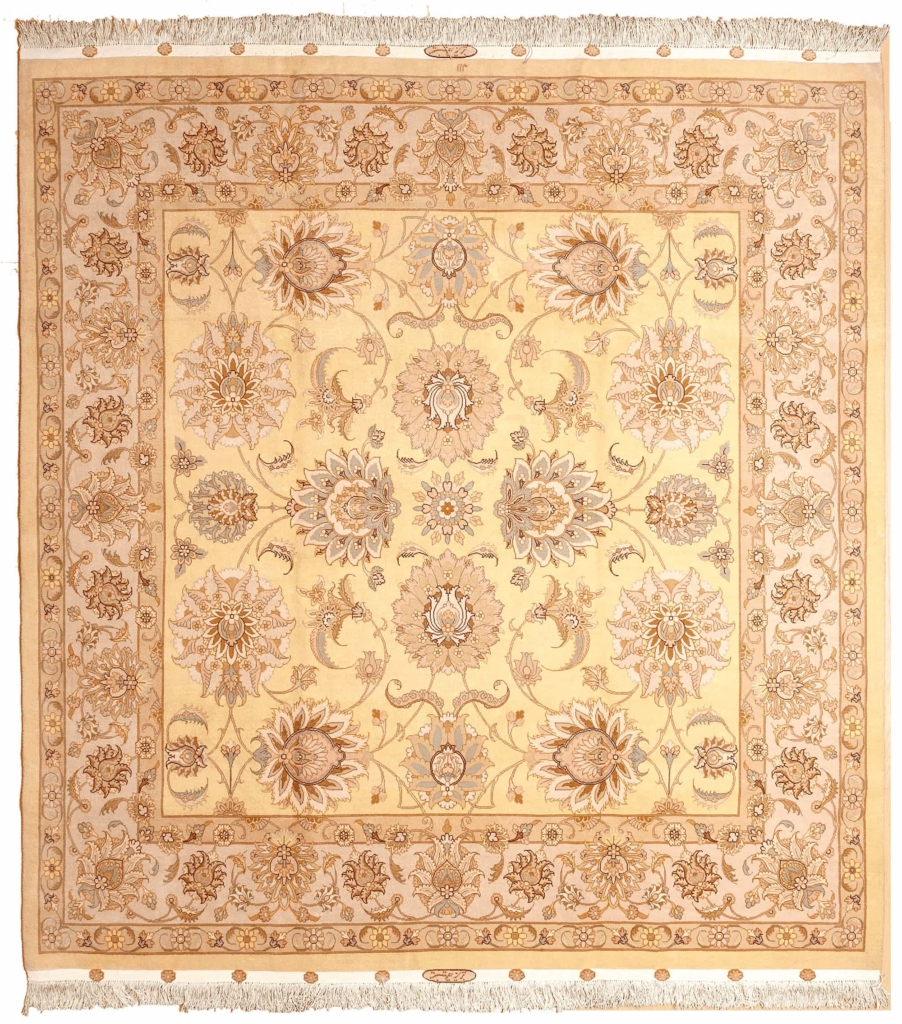 Very Fine  Square Tabriz Signed  Rug at Essie Carpets, Mayfair London