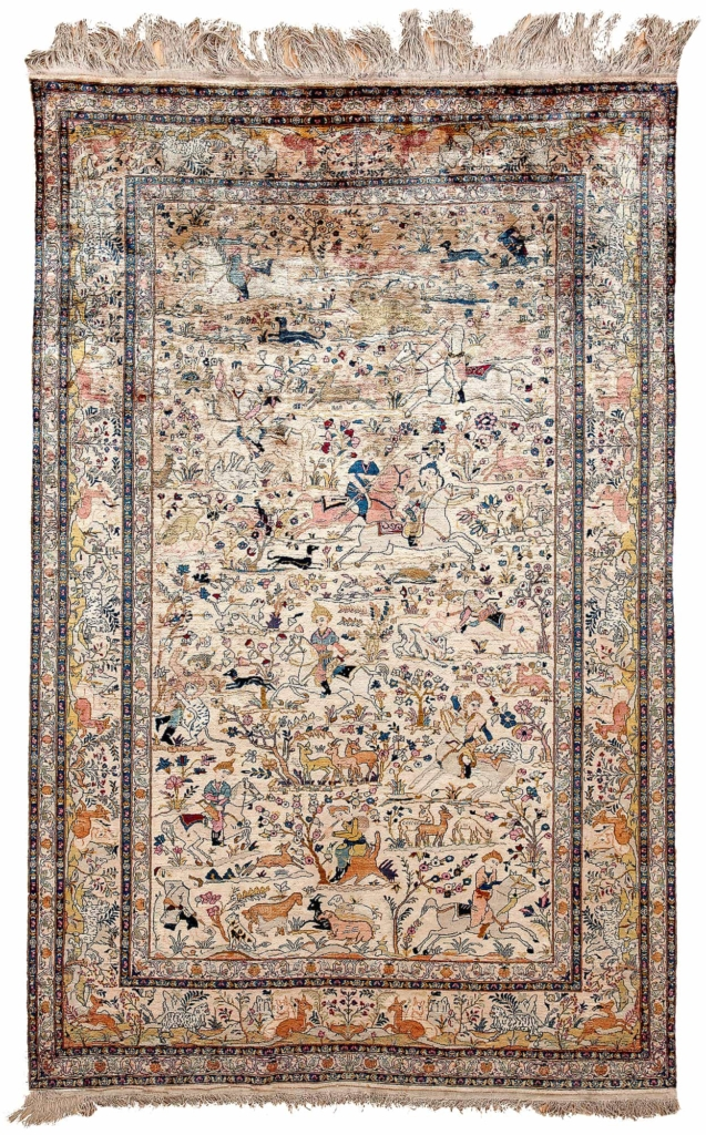 Extremely Fine, Signed Persian Kashan, Hunters on Horses Rug at Essie Carpets, Mayfair London
