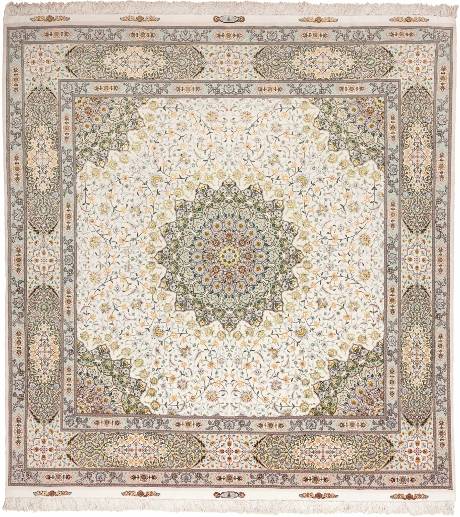 Fine Signed Square Persian Tabriz Rug at Essie Carpets, Mayfair London