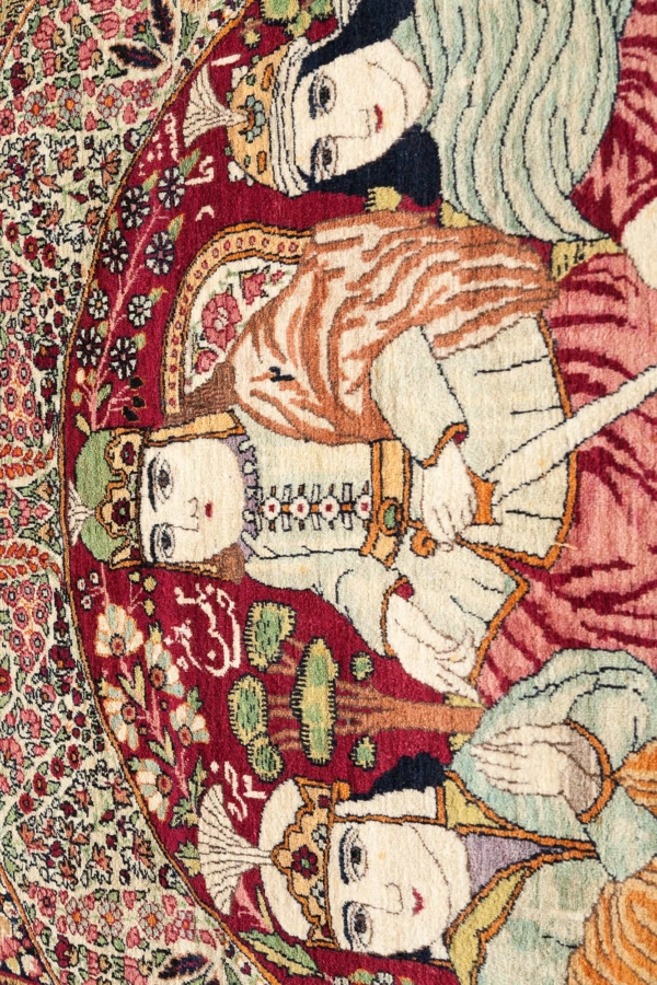 Extremely Fine, Rare, Signed Antique Ravar Kerman (one of a Pair) King and Court Rug at Essie Carpets, Mayfair London
