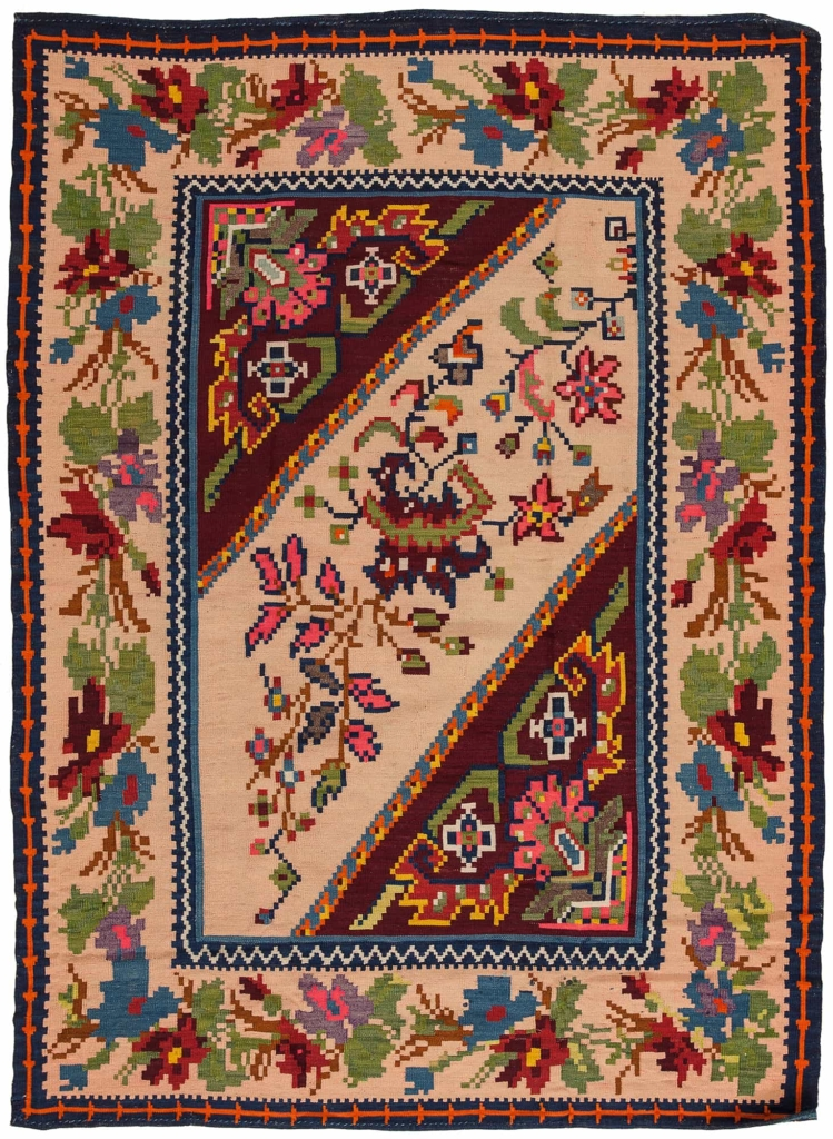 Persian Qashqai Gol Farangi Kilim at Essie Carpets, Mayfair London