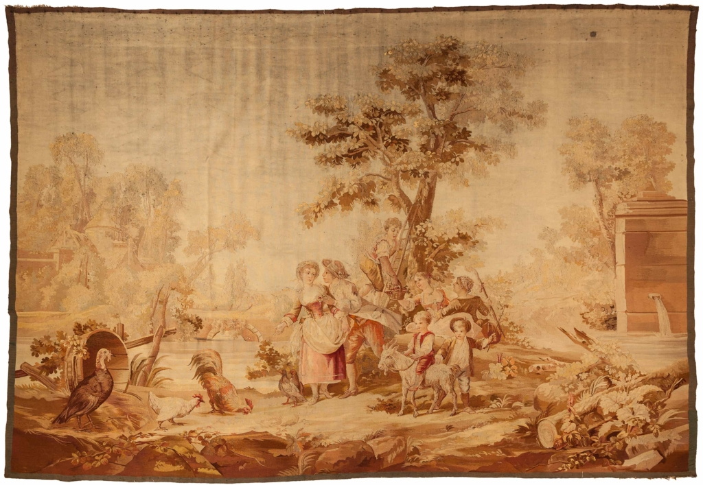 Antique Tapestry - England - Silk and Wool - Landscape Pictorial - Scenery