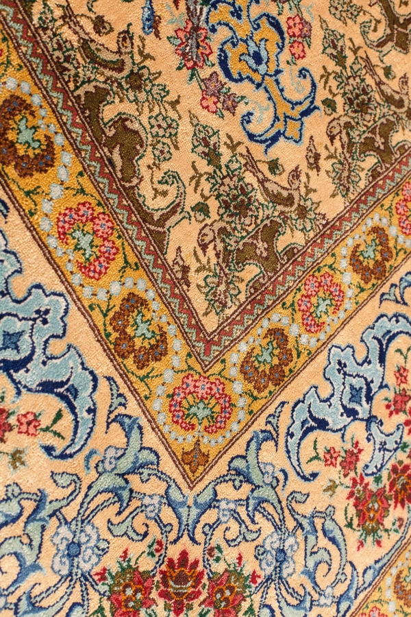 Square Exremely Fine Rare Signed Persian Qum Rug at Essie Carpets, Mayfair London