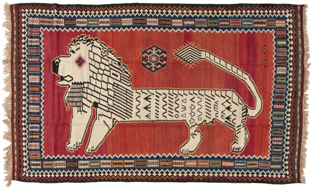 Persian Qashqai of Lion Kilim at Essie Carpets, Mayfair London