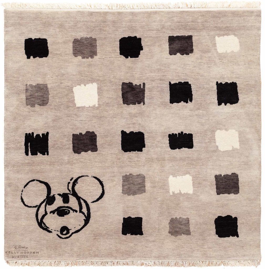 Square Small Mickey Character in Corner with Allover design Squares Rug at Essie Carpets, Mayfair London