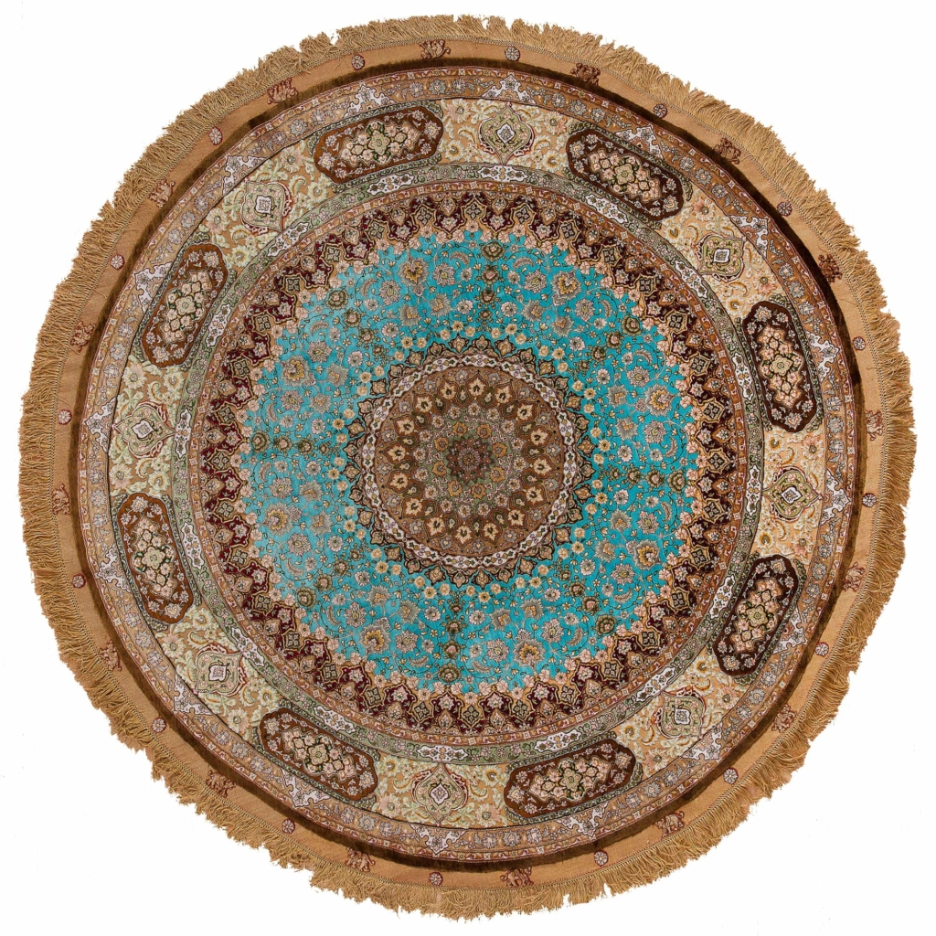 Unique and Embossed, Very Fine, Circular Persian Tabriz Rug at Essie Carpets, Mayfair London