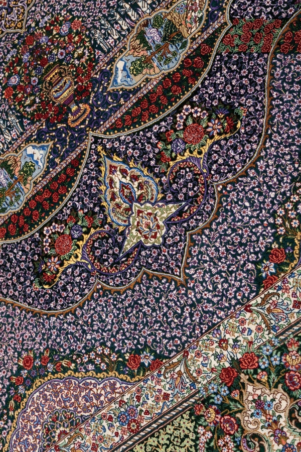 Exquisite Very Fine, Signed Square Persian Qum Rug at Essie Carpets, Mayfair London