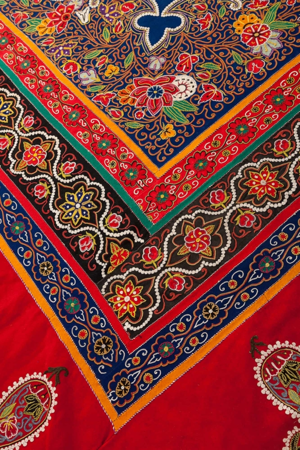 Persian Rasht Embroidery Textile at Essie Carpets, Mayfair London