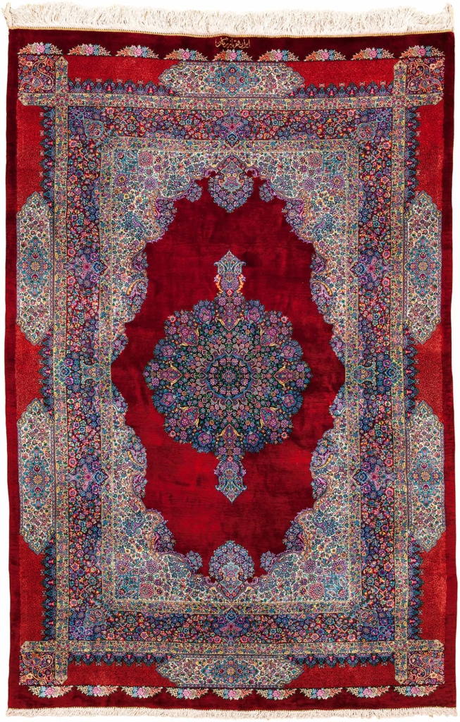 Very Fine Signed Persian Qum Rug at Essie Carpets, Mayfair London