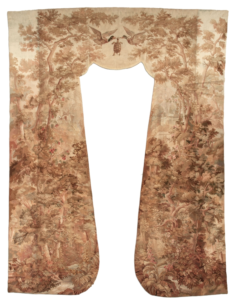Antique French curtain Tapestry at Essie Carpets, Mayfair London
