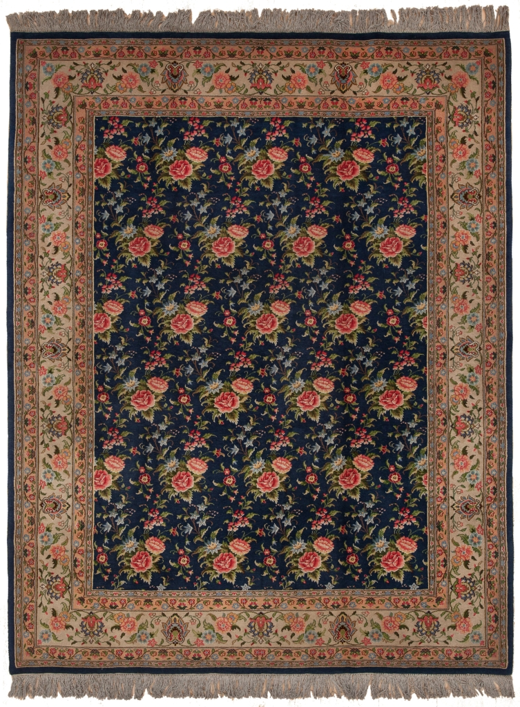 Old Fine Mashad Gol Farangi Rug at Essie Carpets, Mayfair London