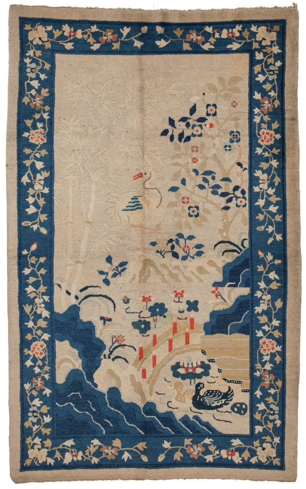 Old Chinese Handwoven Scenary  Rug at Essie Carpets, Mayfair London