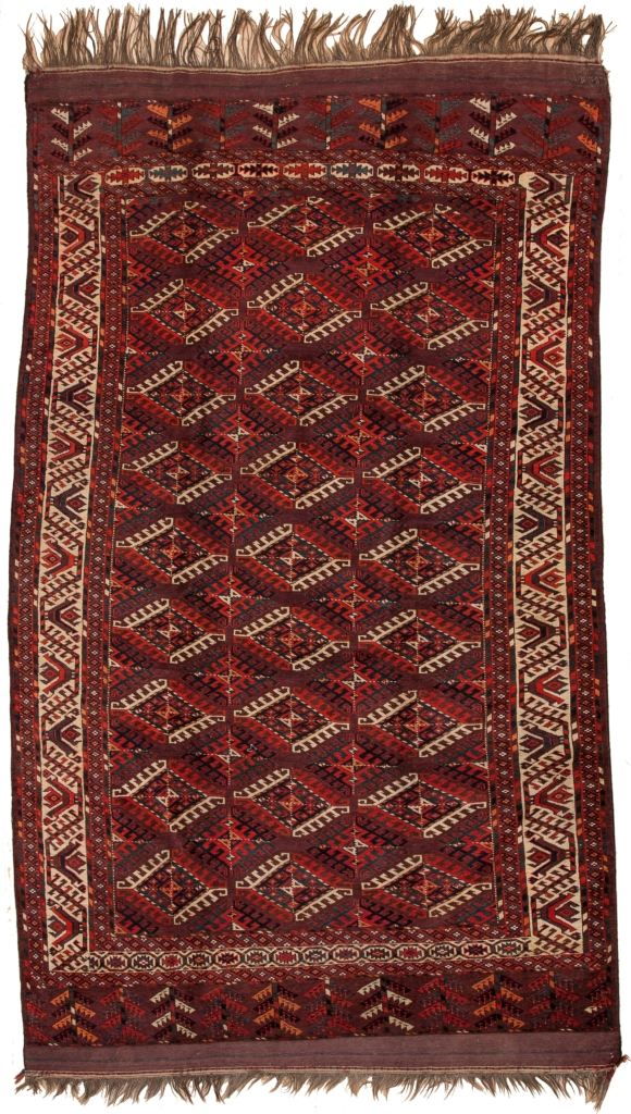 Very Old Russian Yamout Carpet at Essie Carpets, Mayfair London