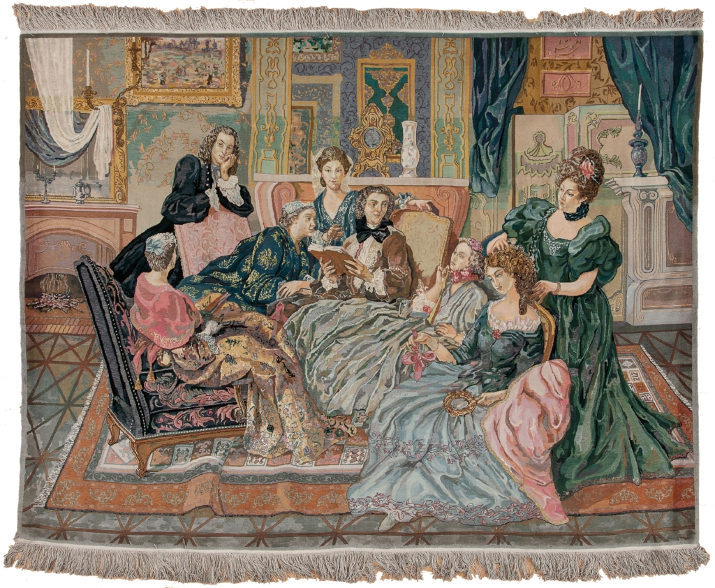 Fine Persian Tabriz Ladies Conversation  Rug at Essie Carpets, Mayfair London