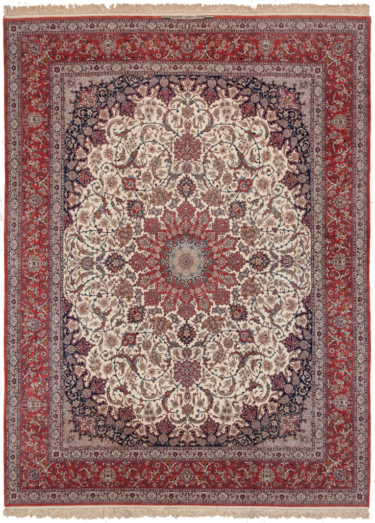 Very Fine Esfahan Signed Carpet at Essie Carpets, Mayfair London