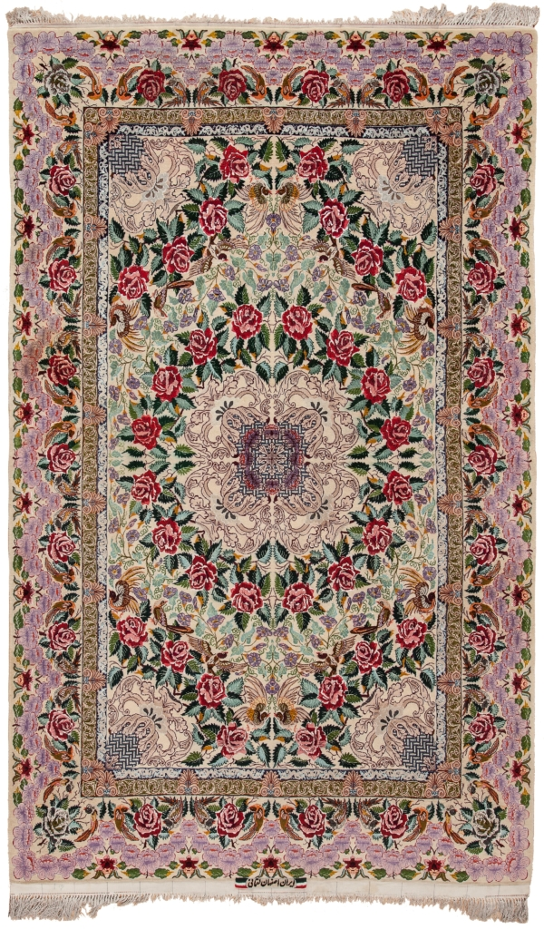Very Fine Signed Persian Esfahan Rug at Essie Carpets, Mayfair London