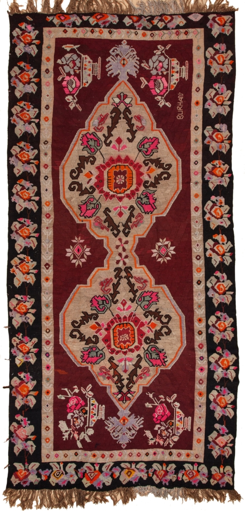 Signed Russian Kilim at Essie Carpets, Mayfair London