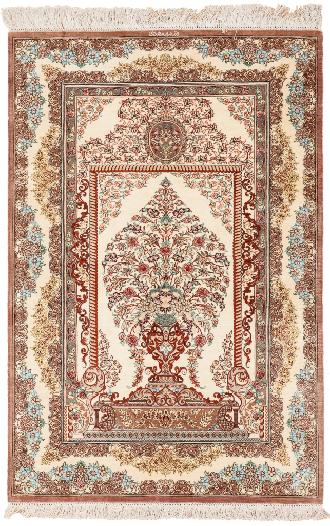 Very Fine, Signed Persian Qum (one of a Pair) Rug at Essie Carpets, Mayfair London