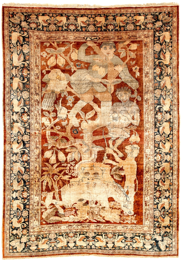 Extremely Fine, Antique, Signed Persian Heriz Monkeys Lion and Man in Tree Rug at Essie Carpets, Mayfair London