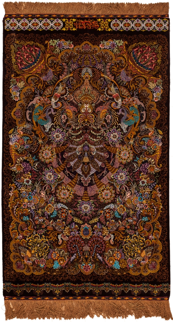 Extremely Fine, Signed Persian Qum Rug at Essie Carpets, Mayfair London