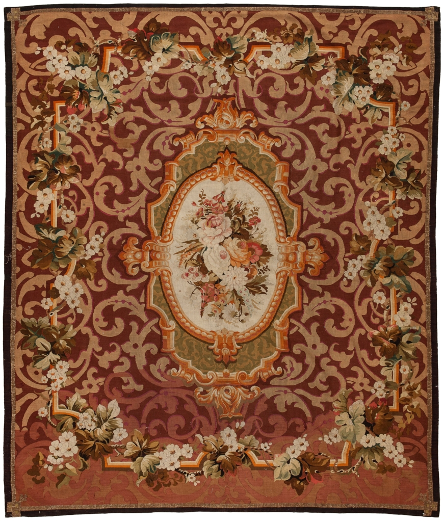 Antique Square French Aubusson Tapestry at Essie Carpets, Mayfair London