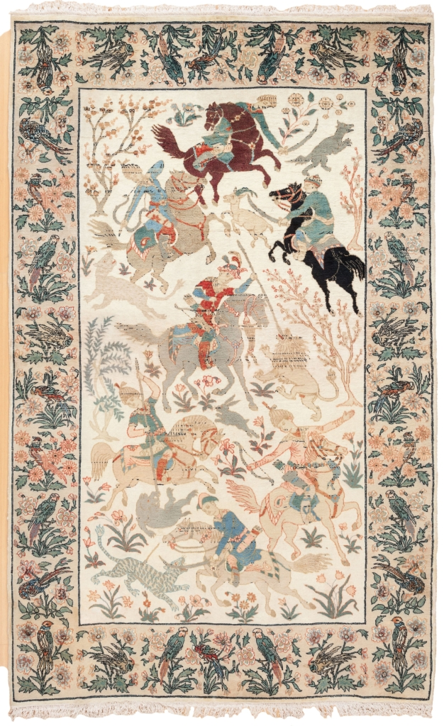 Fine Indian Hunters on Horses,  Rug at Essie Carpets, Mayfair London