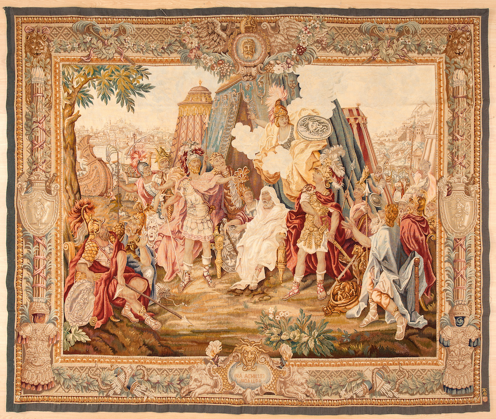 Achilles' Antique French Aubusson  Tapestry at Essie Carpets, Mayfair London