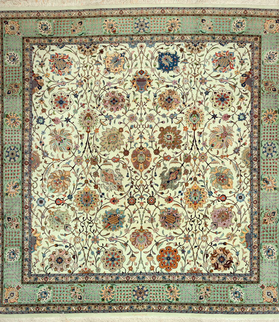 Fine, Signed Square Persian Tabriz Carpet at Essie Carpets, Mayfair London