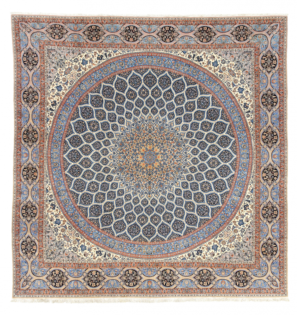 Square Extra Large Persian Esfahan Extra Large Carpet at Essie Carpets, Mayfair London