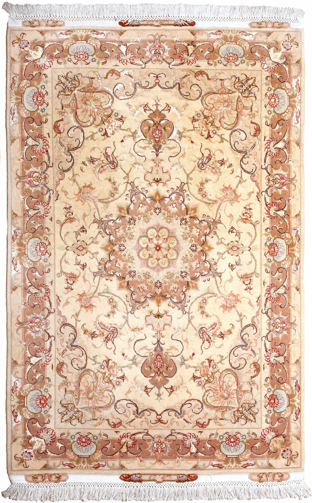 Signed Tabriz Rug or Signed Persian Tabriz Carpet handmade in Mid 20th Century Medallion design Wool Pile Beige Rectangle for sale at Essie carpets Mayfair London