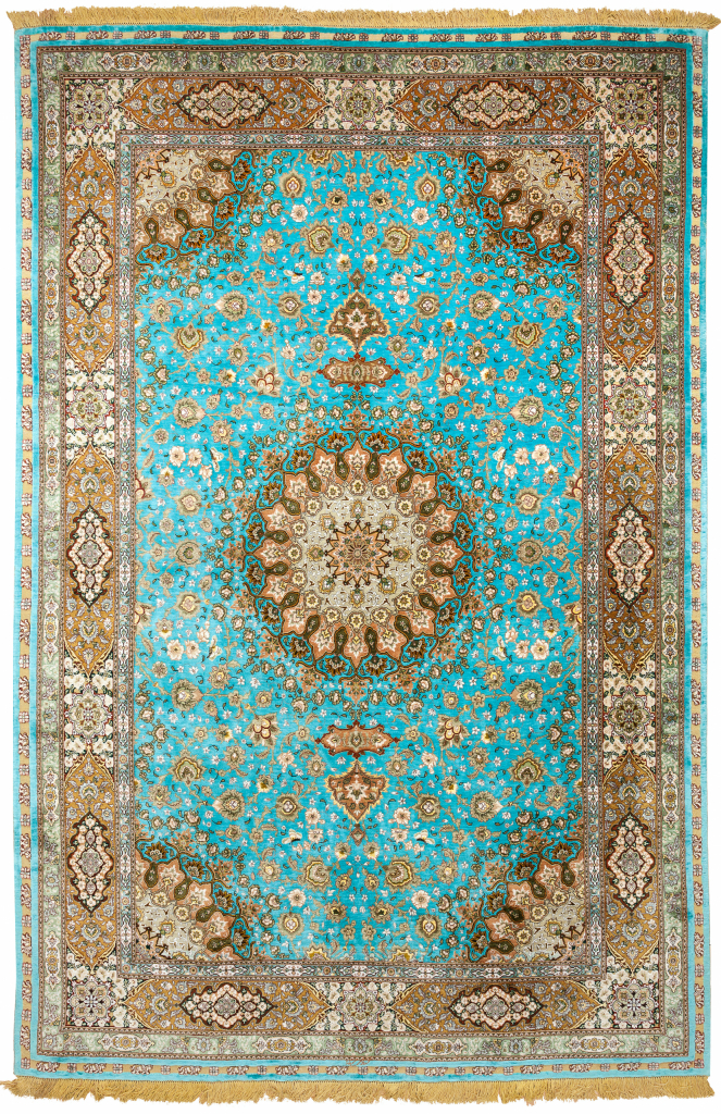 Persian Qum Fine Carpet - Silk and Wool - Central Medallion - Light colour complexion with turquoise blue base accented by light brown