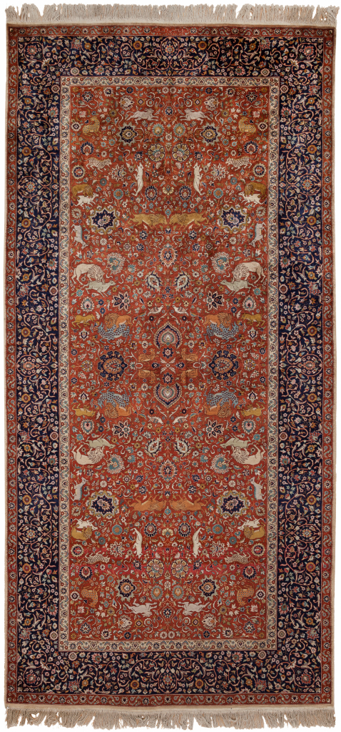 Fine Wool Runner Rug - Pakistan - Allover Design - Floral - Neutral complexion with red base and navy border