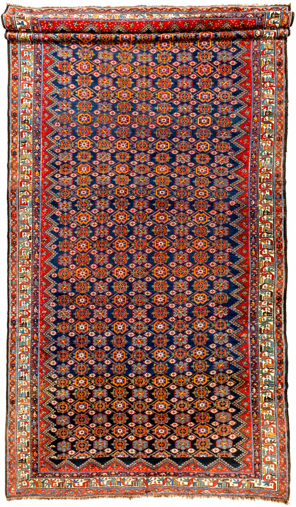 Fine Farahan Large Gallery Persian Carpet Mina Khani Allover Design Approx 4.5x2.5m (15x8ft) Colours: Neutral complexion with light navy base complemented by red, yellow and green.