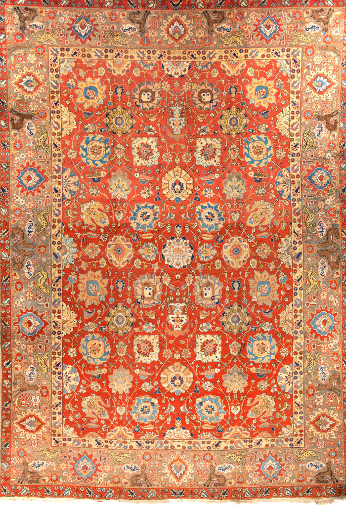 Persian Isfahan Large Oversize - Wool - Allover Design - Approx 4.5x3m (15x10ft) Neutral complexion with cornucopia of coloured palmettes on red base