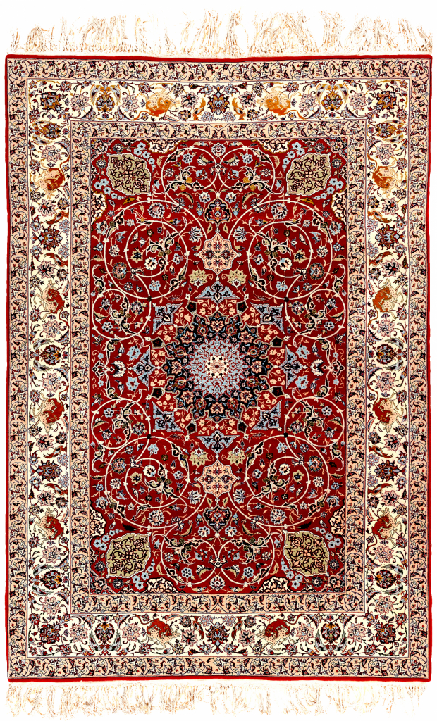 Persian Isfahan Silk and Wool Rug Approx 2x1.5m (7x5ft) Central Medallion Red Base