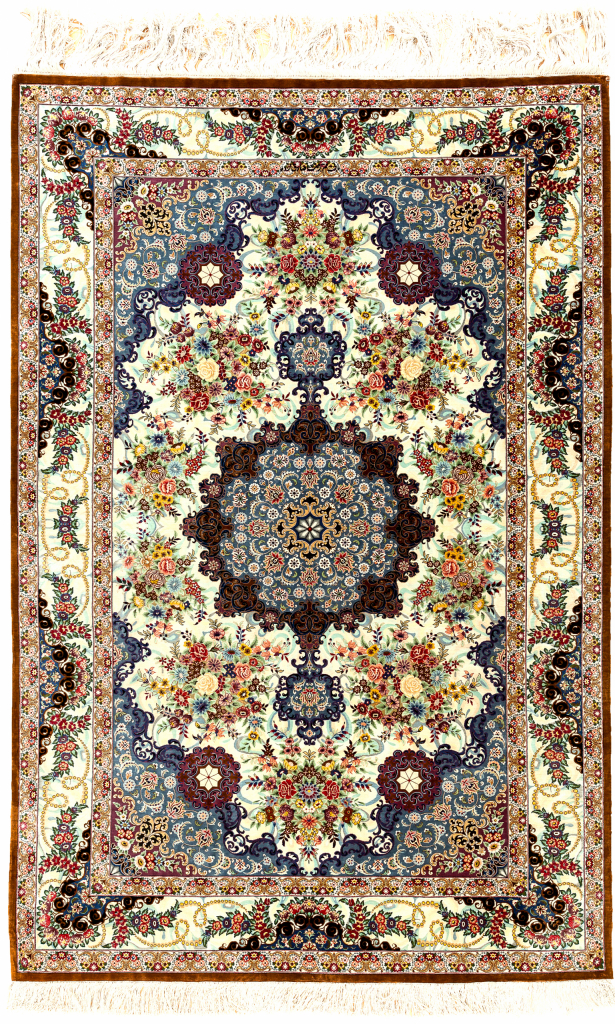 Fine Persian Qum Pure Silk Rug Approx 2x1.5m (7x4ft)