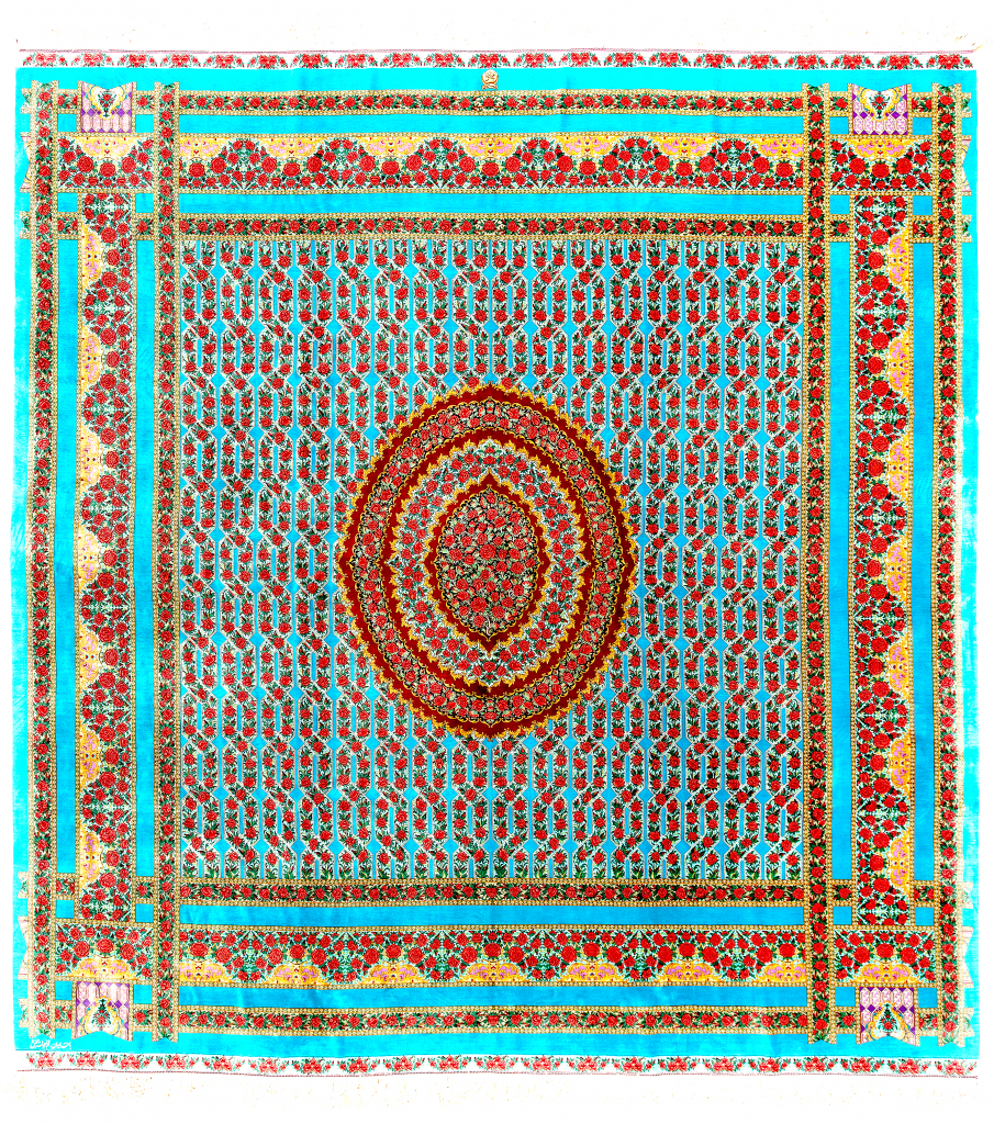 Fine Persian Qum Pure Silk Square Carpet Approx 2.5x2.5m (9x8ft) Central Medallion Light colour complexion with cornucopia of red roses set on light blue base