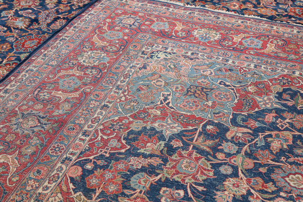Fine Persian Kashan Large Carpet - Oversize - Wool - Approx 4.5x3.5m (15x11ft) - Central Medallion - Dark complexion of colour palette on navy base