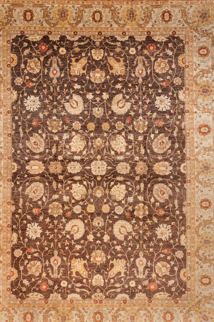 Fine Persian Afghanistan Large Carpet - Oversize - Wool - Allover Design - Approx 5x4m (17x13ft) - Neutral colour complexion on brown base and yellow accent