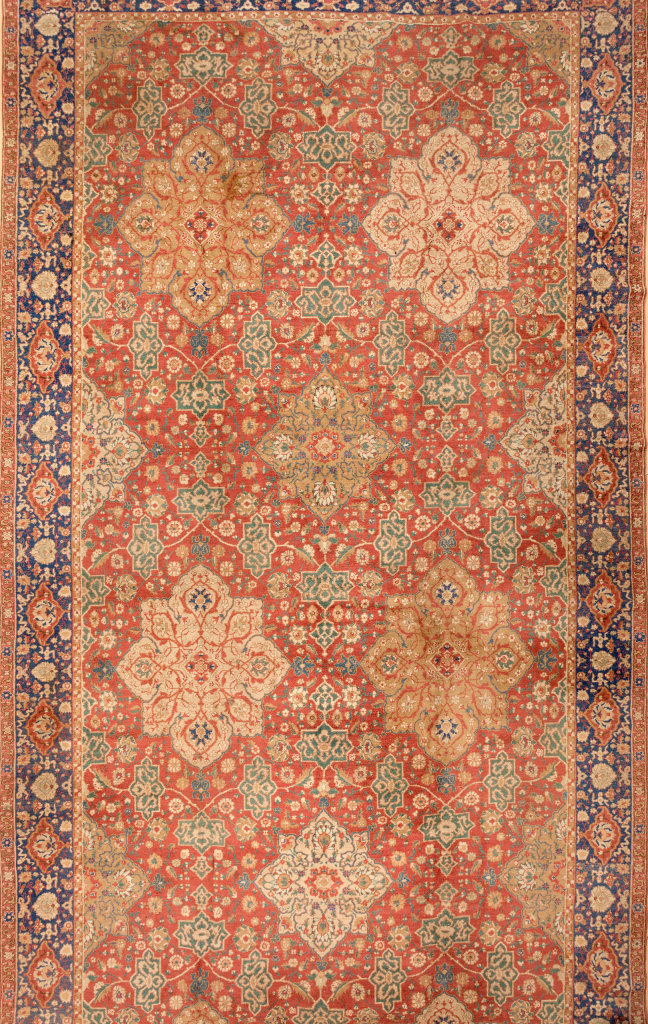 Ushak Extra-Large Gallery Carpet - Oversize - Very Fine Wool - Diamond Garden Design - Approx 6.5x3m (21x10ft) - Neutral complexion on red base