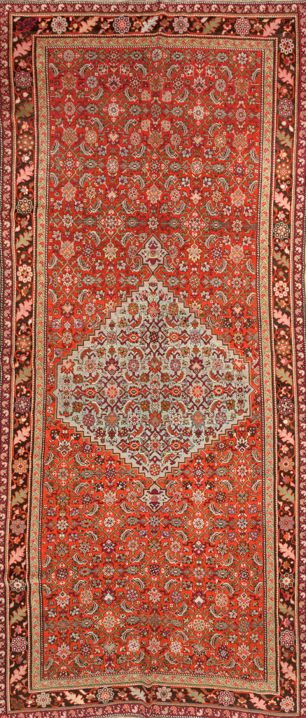 Large Russia Gallery Carpet - Wool - Approx 4.5x2m (15x6ft) - Central Medallion - Herati Design - Neutral complexion on red base