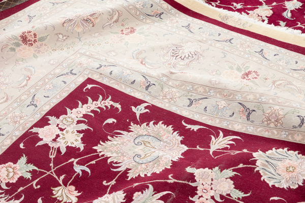 Fine Persian Tabriz Large Carpet - Oversize - Allover design - Silk and Wool - Neutral complexion on red base accented by pink, ivory and yellow