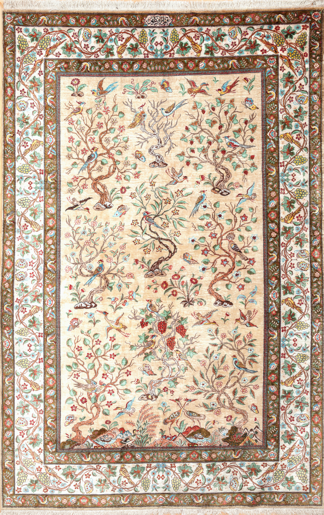 Fine Pure Silk Persian Qum Rug - Signed - Tree of Life motifs - Light complexion on ivory base with colourful detailing