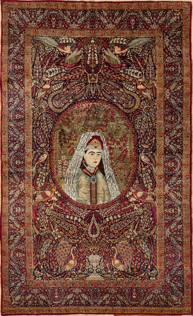 Persian Kerman Ravar Pictorial Rug - Fine Antique Mashahir (Celebrities) Approx 2.5x1.5m (7x5ft) Neutral complexion on red base