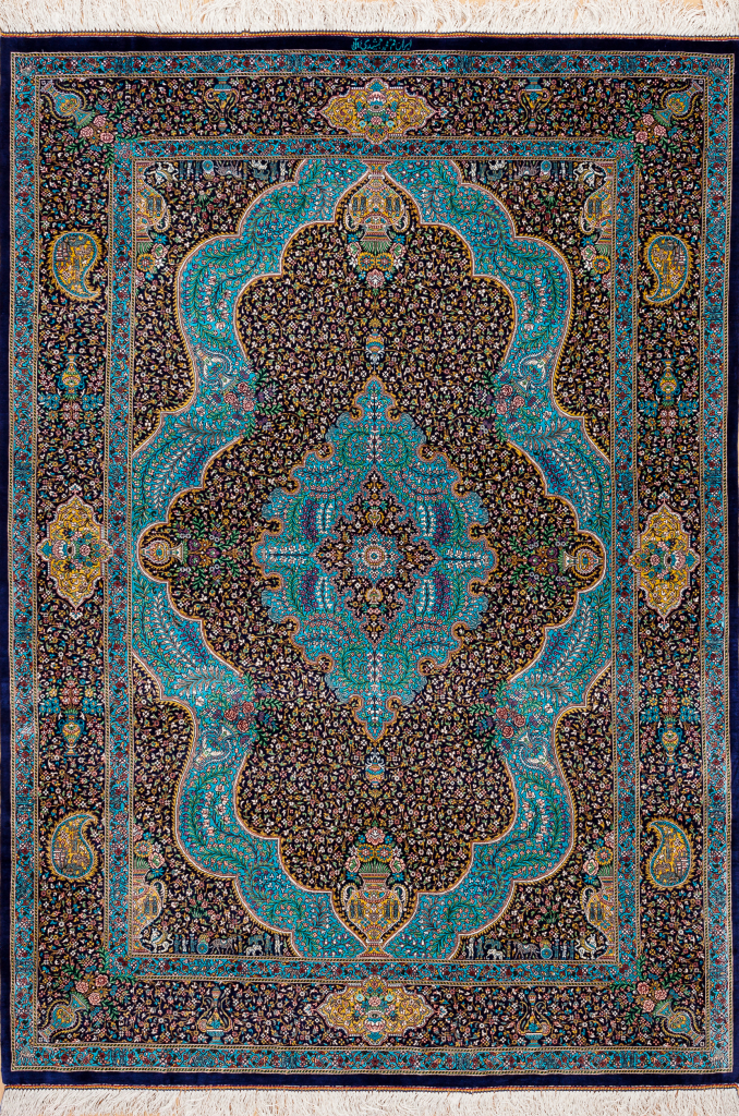 Persian Qum Pure Silk Fine Rug - Central Medallion with Vase motif - Approx 2x1.5m (6x4ft) Colours: neutral complexion on blue base