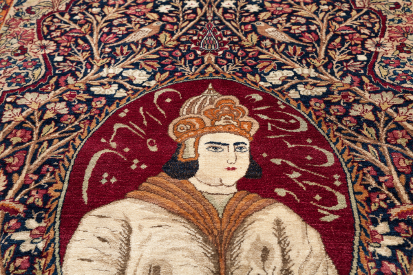 Persian Kerman Ravar Antique – Fine Royalty Pictorial Rug - Mashahir (Celebrities) Approx 2.5×1.5m (7x4ft) Neutral complexion on red base