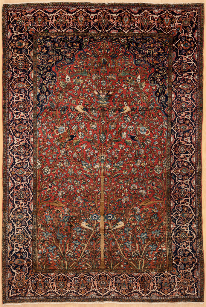 Persian Kashan Antique Mihrab - Fine Handwoven Rug with Tree of Life motif Approx 2x1.5m (6x4ft) Neutral complexion on red base