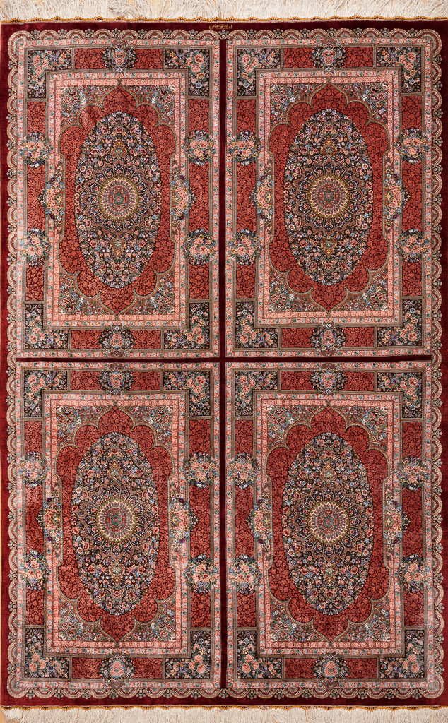 Persian Qum Pure Silk Quad Medallion Rug with intricate floral motif Approx 2.5x1.5m (8ftx6ft) Neutral complexion on red base