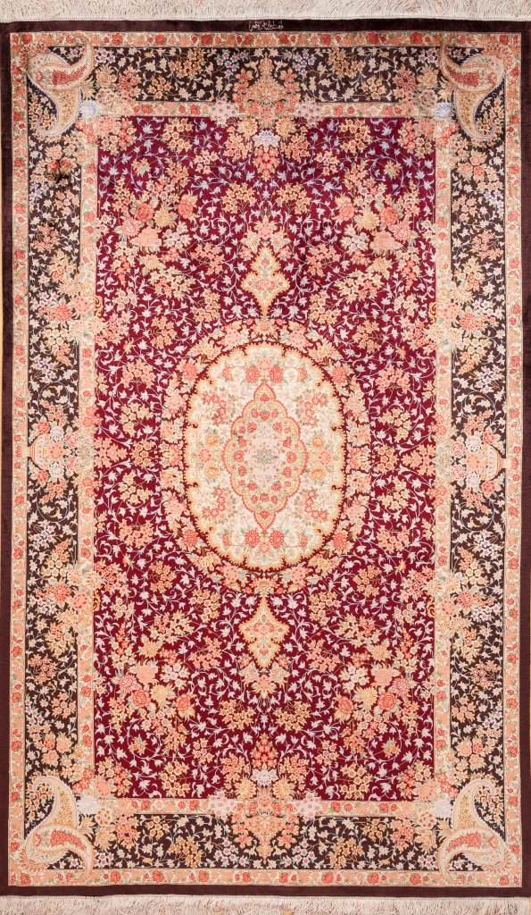 Persian Qum Fine Silk Signed Central Medallion Rug Approx 2.5x1.5m (8x5ft) Neutral complexion with intricate floral motif on red base