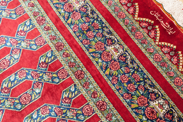 Persian Qum Pure Silk Carpet - Very Fine - Signed - Central Medallion with floral motif throughout Approx 3x2m (10x7ft) Light complexion in red.